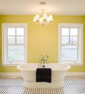 yellow bathroom wall paint